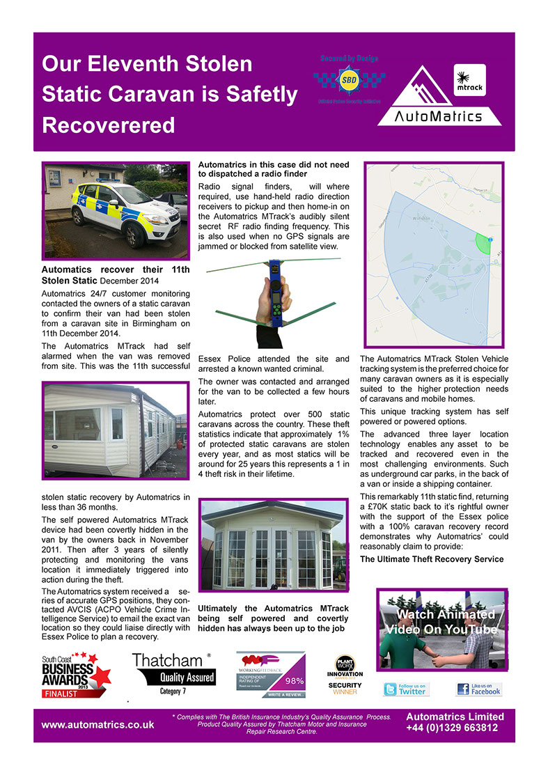 Caravan Security Automatrics MTrack Recovers 11 Static Caravans Newsletter