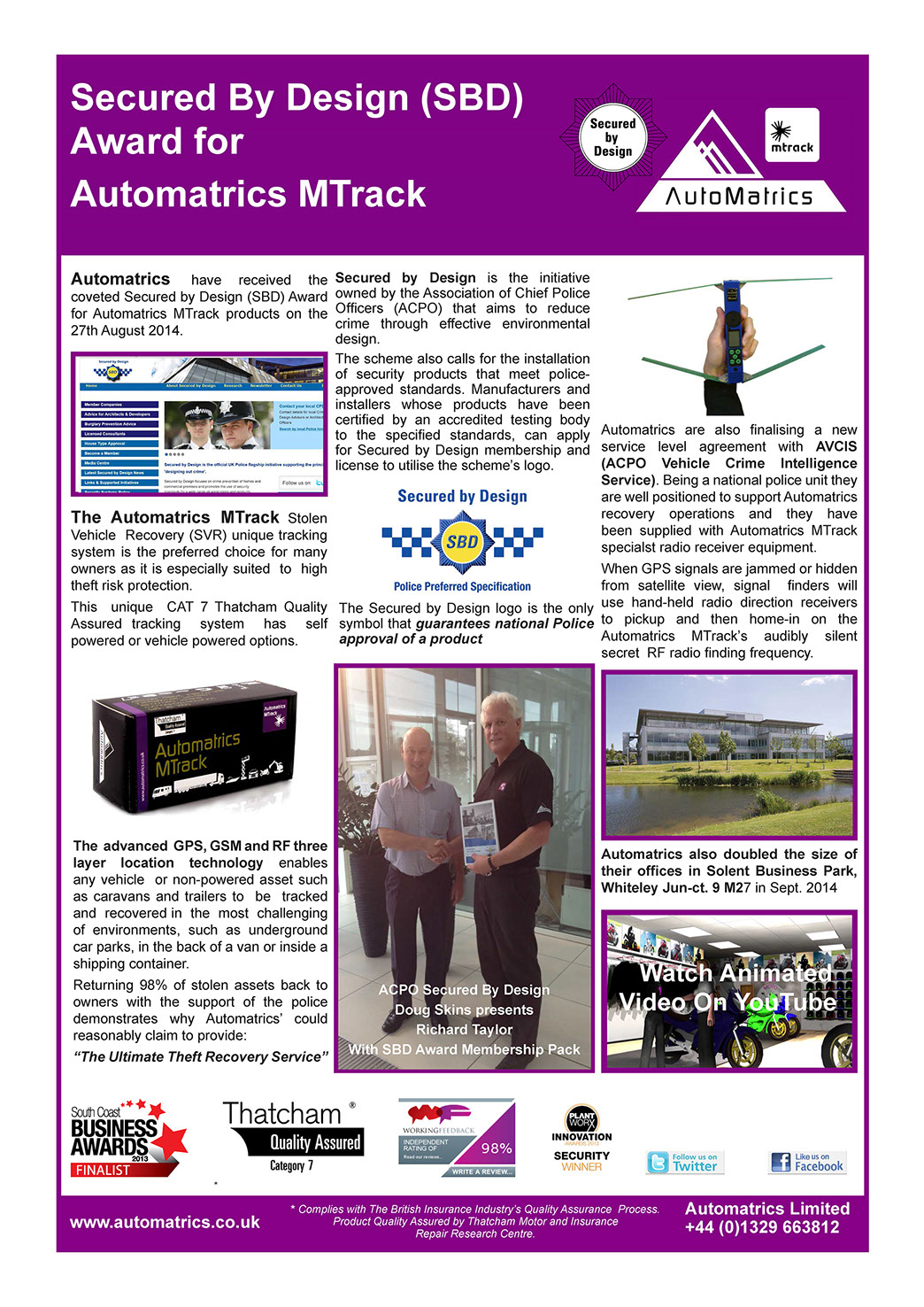 Automatrics MTrack Secured By Design Membership Newsletter