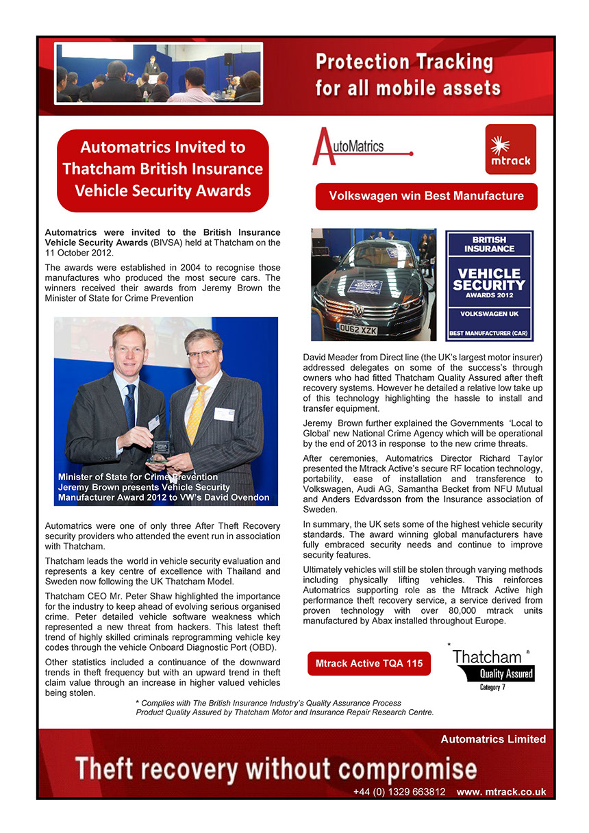 Automatrics MTrack Car Trackers British Insurance Awards