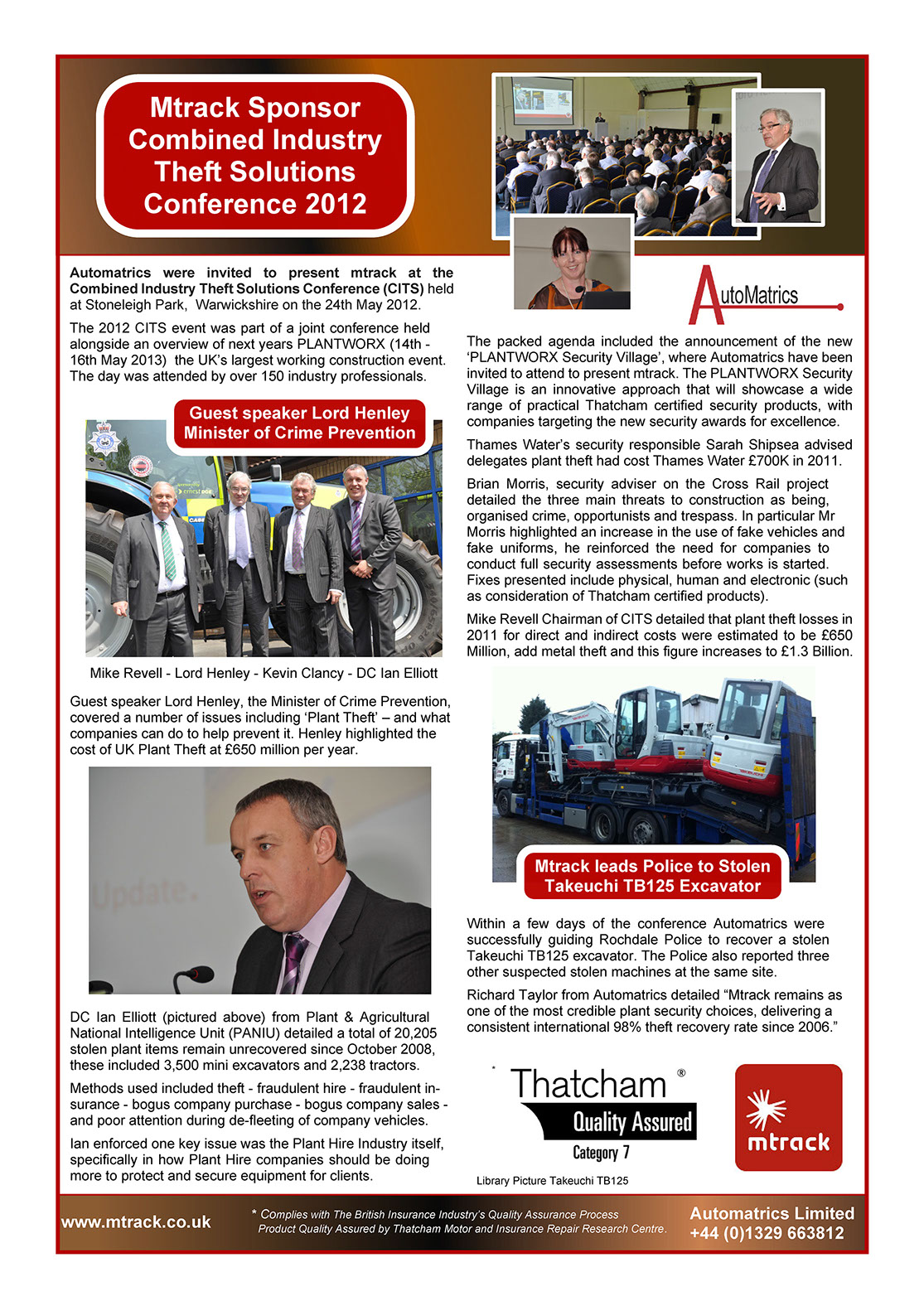 CITS Conbiined Industry Theft Solutions 2012 Conference Automatrics Newsletter