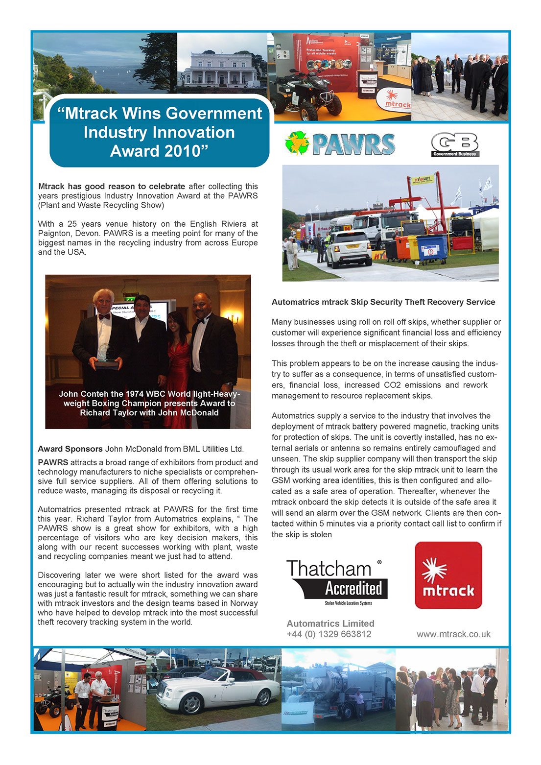 Automatrics Win Innovation award at PAWRS show 2010 Newsletter