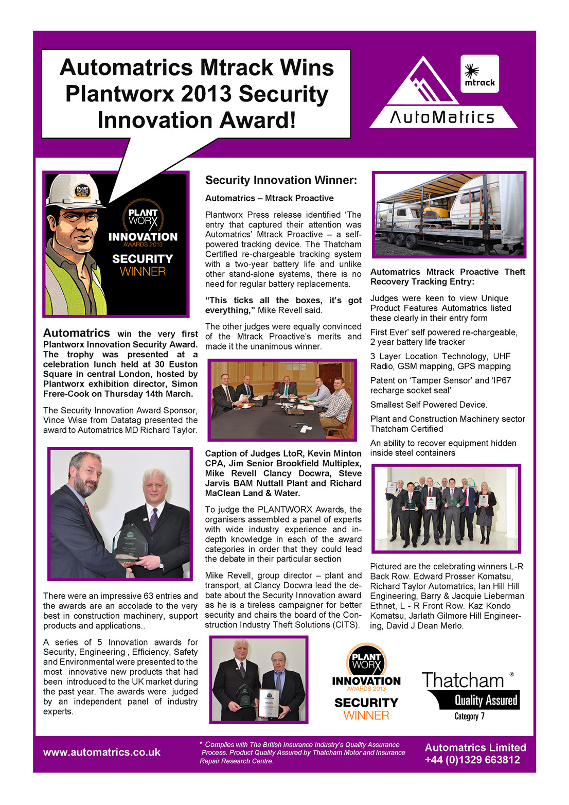 Automatrics MTrack Proactive Wins Plantworx Security Innovation Award 2013 Newsletter