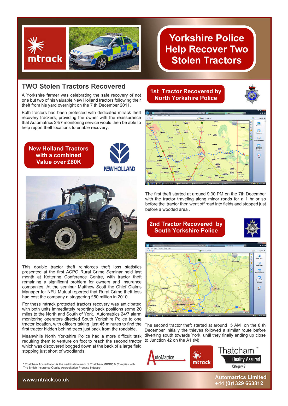 Two Stolen Tractors recovered by Automatrics Newsletter