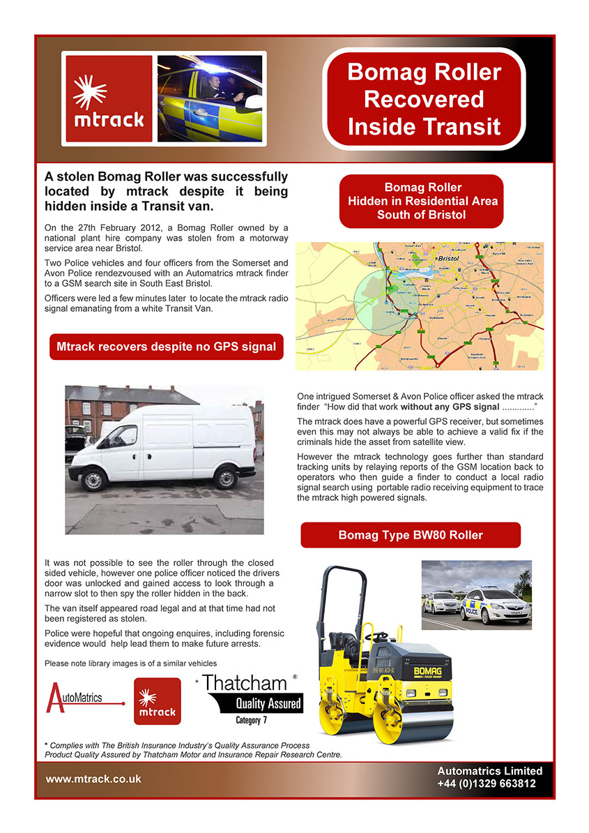 Stolen Bomag Roller hidden in back of Transit van is saftely recovered by Automatrics MTrack