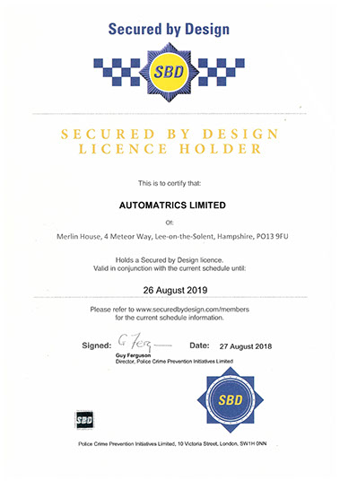 Automatrics Police CPI Secured By Design Certificate 2018-19