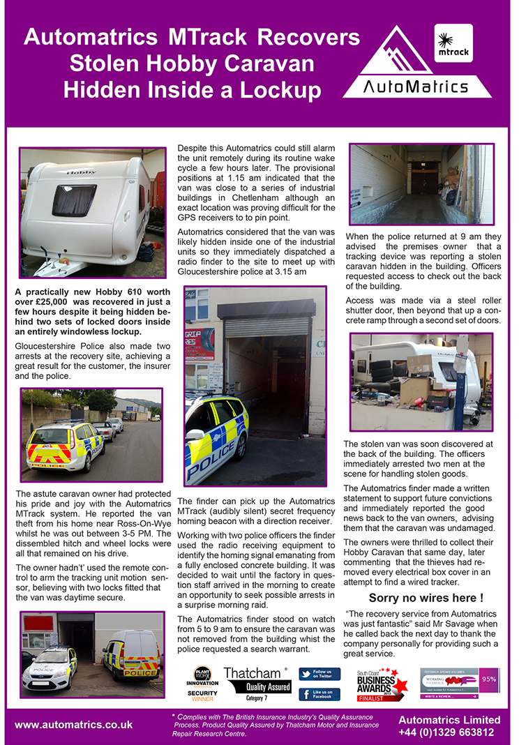 Caravan Security Theft Recovery Story From Automatrics MTrack Stolen Hobby Caravan hidden inside lockup