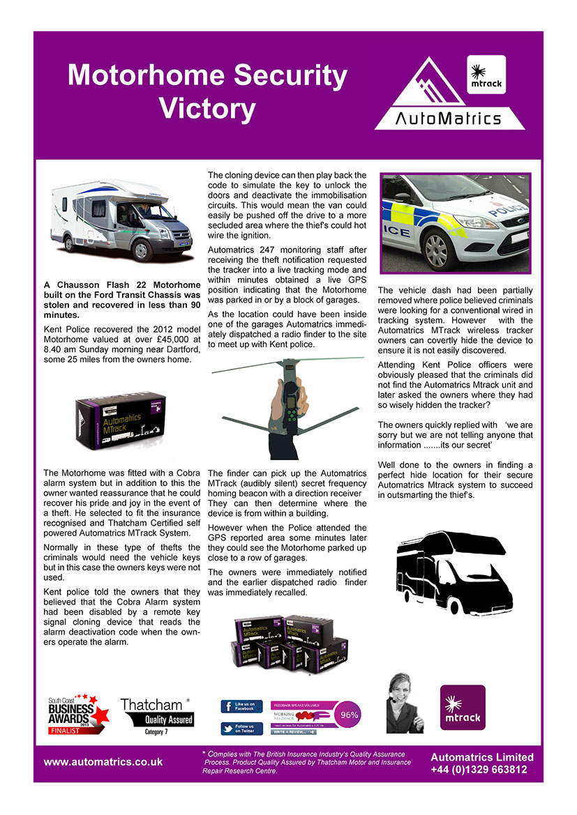 Motorhome Security Theft Recovery Story From Automatrics MTrack for Stolen Chausson Flash 22 Motorhome