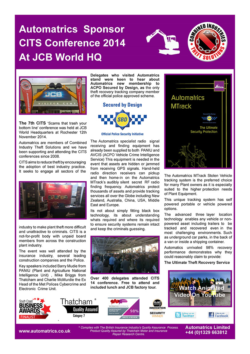 CITS Conference 2014 Automartrics Newsletter Combined Industry Theft Solutions Plant Security