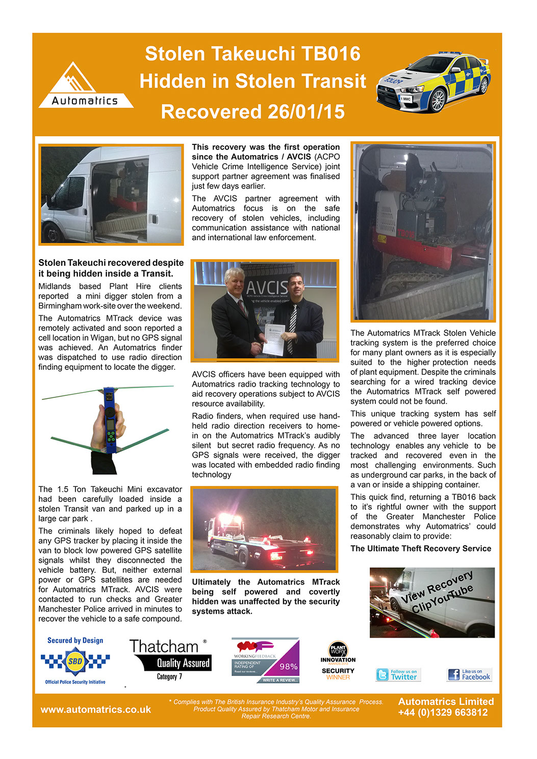 Stolen Takeuchi Mini Digger is Recovered hidden inside a transit van by Automatrics MTrack Newsletter