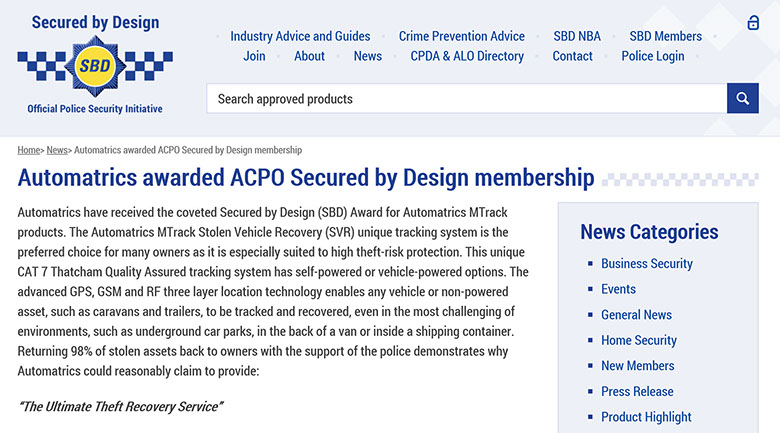 Automatrics awarded Police CPI Secured By Design Membership press release